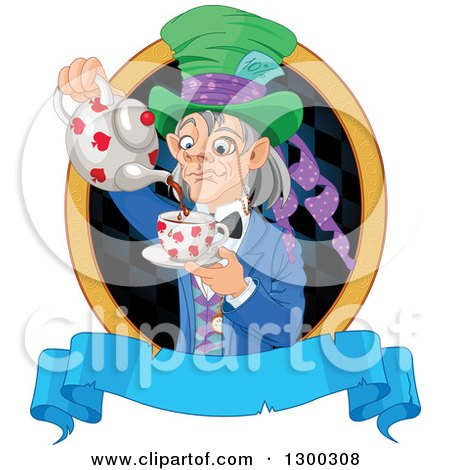 Clipart of a Gray Haired Mad Hatter Pouring Tee in a Checkered Oval over a Blank Blue Banner - Royalty Free Vector Illustration by Pushkin