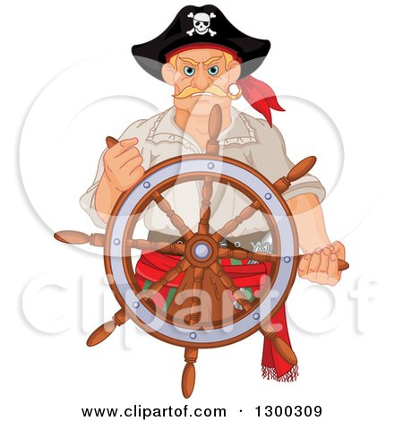 Clipart Of A Tough Blond White Male Pirate Captain Steering At A Ships Helm Royalty Free Vector Illustration