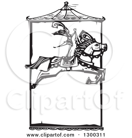 Clipart of a Black and White Woodcut Woman Standing on a Leaping Horse Under a Carousel Roof in a Circus Act - Royalty Free Vector Illustration by xunantunich