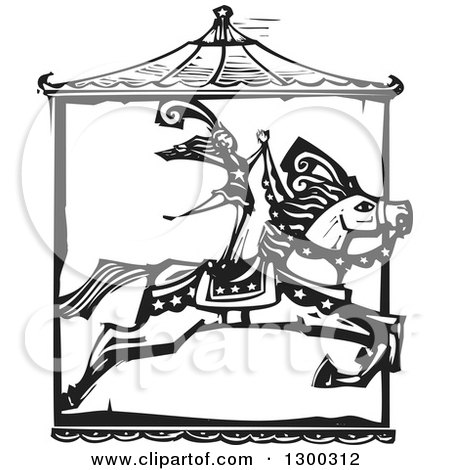 Clipart of a Black and White Woodcut Woman Standing on a Leaping Carousel Horse in a Circus Act - Royalty Free Vector Illustration by xunantunich