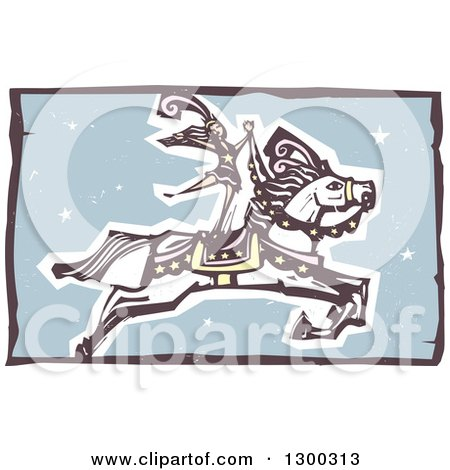 Clipart of a Woodcut Performing Woman Standing on a Leaping Horse in a Circus Act - Royalty Free Vector Illustration by xunantunich