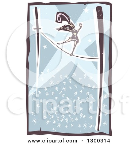 Clipart of a Woodcut Woman Walking the Tight Rope in a Circus Act, with a Crowd Below Her - Royalty Free Vector Illustration by xunantunich