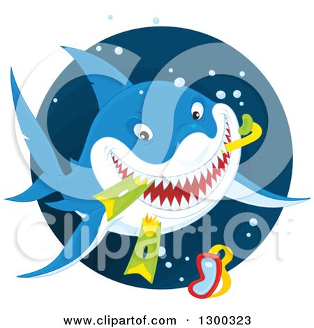 Clipart of a Blue and White Shark Eating Snorkel Gear in a Circle - Royalty Free Vector Illustration by Alex Bannykh