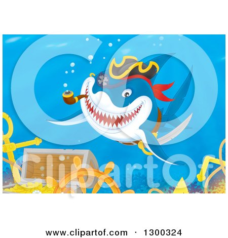 Clipart of a Grinning Pirate Shark Smoking a Pipe over a Sunken Treasure and Ship Wreck - Royalty Free Illustration by Alex Bannykh