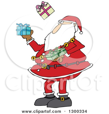 Clipart of a Christmas Santa Claus Juggling Wrapped Gifts - Royalty Free Vector Illustration by djart