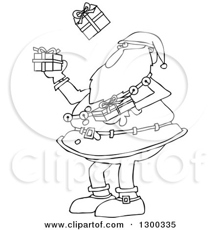 Outline Clipart of a Black and White Christmas Santa Claus Juggling Wrapped Gifts - Royalty Free Lineart Vector Illustration by djart
