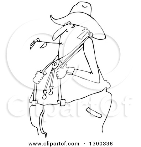 Outline Clipart of a Black and White Cartoon Chubby Male Farmer Holding His Suspenders and Chewing on Straw - Royalty Free Lineart Vector Illustration by djart