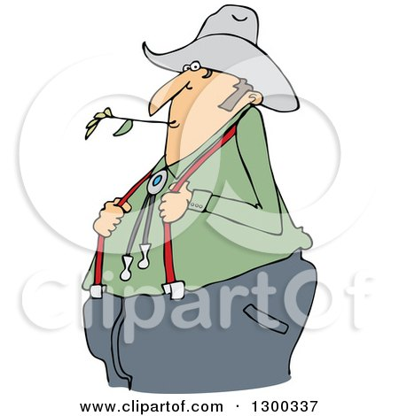Clipart Of A Cartoon Chubby White Male Farmer Holding His Suspenders And Chewing On Straw Royalty Free Vector Illustration