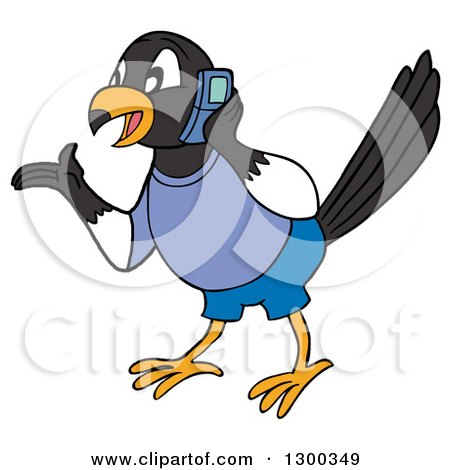 Clipart of a Talkative Male Magpie Bird Wearing Blue, Gesutring and Talking on a Cell Phone - Royalty Free Vector Illustration by LaffToon
