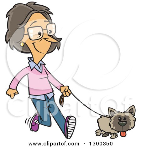 Clipart of a Cartoon White Woman Happily Walking Her Little Dog - Royalty Free Vector Illustration by toonaday