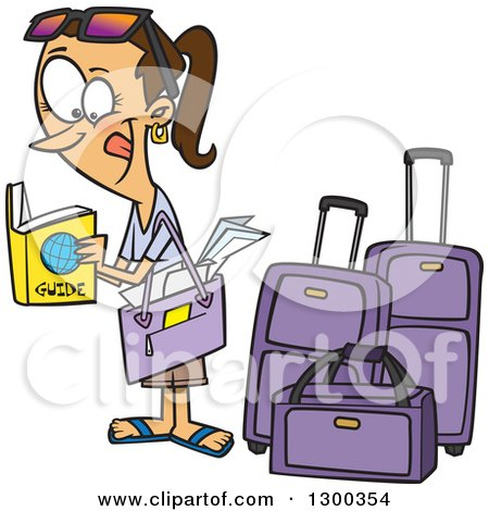 Clipart of a Cartoon Excited Traveling Brunette White Woman Reading a Guide by Luggage - Royalty Free Vector Illustration by toonaday