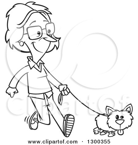 Lineart Clipart of a Cartoon Black and White Woman Happily Walking Her Little Dog - Royalty Free Outline Vector Illustration by toonaday
