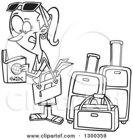 Preview Clipart Cartoon Black And White Excited Traveling Woman Reading A Guide By Luggage