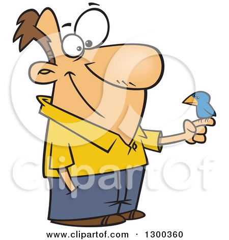 Cartoon Happy White Man with a Blue Bird Perched on His Finger Posters, Art Prints