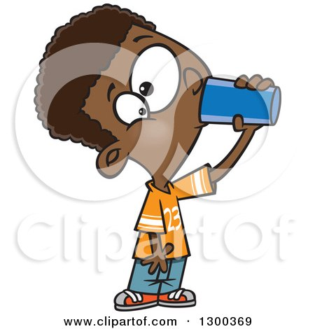 Clipart of a Cartoon Thirsty Black Boy Drinking from a Cup - Royalty Free Vector Illustration by toonaday