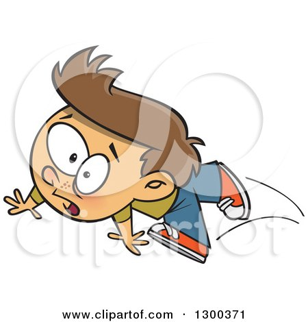 Clipart Of A Cartoon Clumsy Brunette White Boy Tripping
