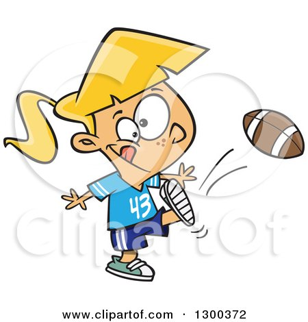 Clipart of a Cartoon Blond White Tom Boy Girl Kicking a Football - Royalty Free Vector Illustration by toonaday