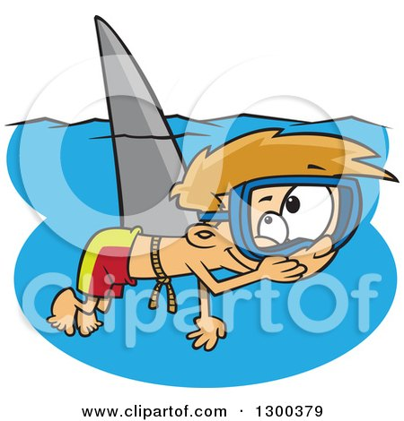 Clipart of a Cartoon Mischievous Blond White Boy Wearing a Shark Fin and Swimming As a Prank - Royalty Free Vector Illustration by toonaday