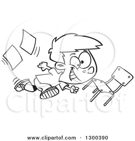 Lineart Clipart Of A Cartoon Black And White School Boy Running