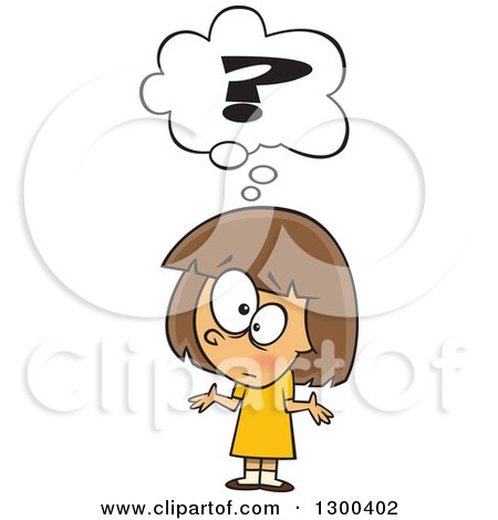 Clipart Of A Cartoon Confused Brunette White Girl Shrugging Under A