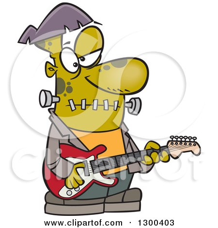 Clipart of a Cartoon Frankenstein Playing a Guitar - Royalty Free Vector Illustration by toonaday