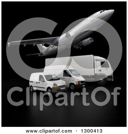 Clipart of a 3d Commercial Airliner Plane Flying over a Big Rig and Delivery Vans on Black 3 - Royalty Free Illustration by Frank Boston