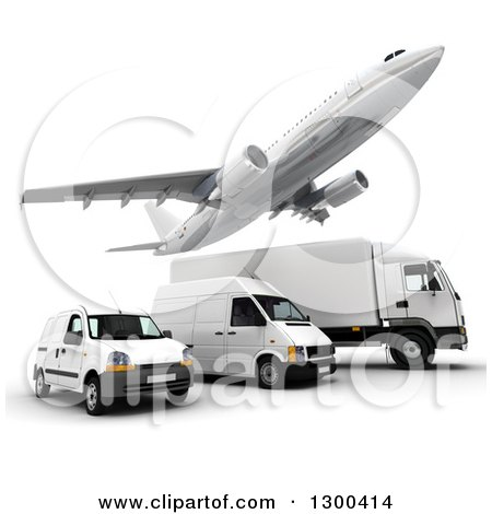 Clipart of a 3d Commercial Airliner Plane Flying over a Big Rig and Delivery Vans on White - Royalty Free Illustration by Frank Boston