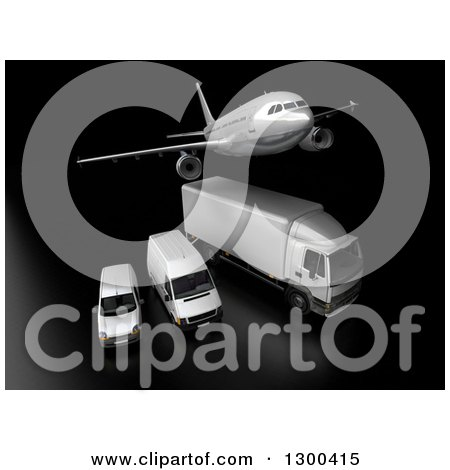 Clipart of a 3d Commercial Airliner Plane Flying over a Big Rig and Delivery Vans on Black 4 - Royalty Free Illustration by Frank Boston