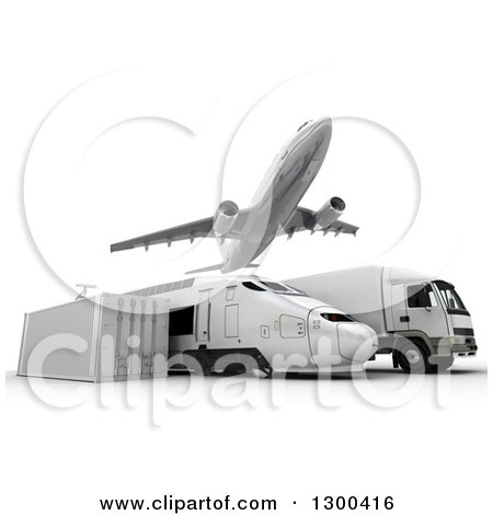 Clipart of a 3d Commercial Airliner Plane Flying over a Big Rig, Train and Cargo Container on White - Royalty Free Illustration by Frank Boston
