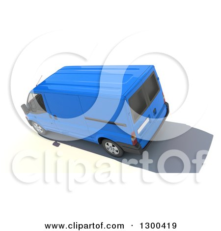 Clipart of a 3d Aerial View of a Blue Delivery Van, on White - Royalty Free Illustration by Frank Boston