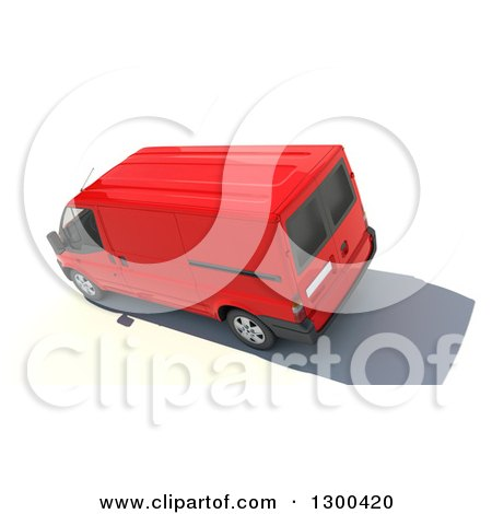 Clipart of a 3d Aerial View of a Red Delivery Van, on White - Royalty Free Illustration by Frank Boston