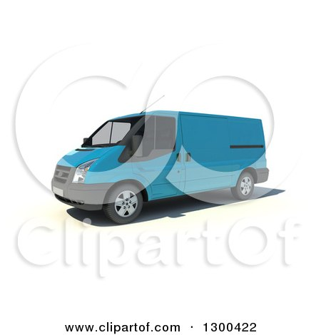 Clipart of a 3d Light Blue Delivery Van on White - Royalty Free Illustration by Frank Boston