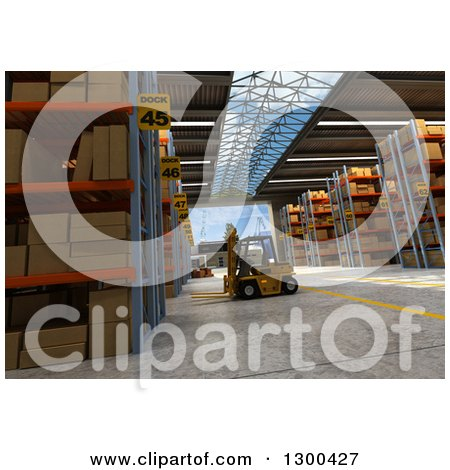 Clipart of a 3d Distribution Warehouse Interior with a Forklift - Royalty Free Illustration by Frank Boston