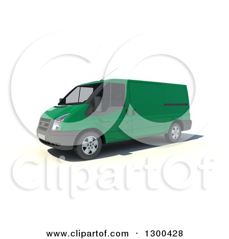 Clipart of a 3d Green Delivery Van, on White - Royalty Free Illustration by Frank Boston