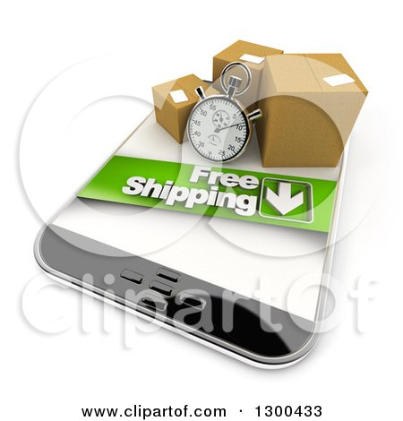 Clipart of a 3d Stopwatch and Packages with a Free Shipping Banner on a Smart Phone - Royalty Free Illustration by Frank Boston