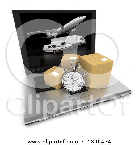Clipart of a 3d Stopwatch and Packages on a Laptop Computer with Shipping Fleet Vehicles on the Screen, over White - Royalty Free Illustration by Frank Boston