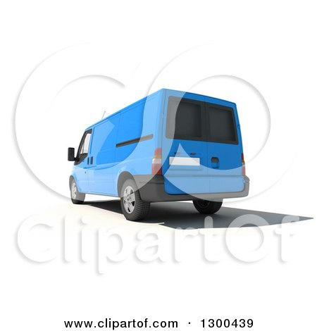 Clipart of a 3d Rear View of a Blue Delivery Van, on White - Royalty Free Illustration by Frank Boston