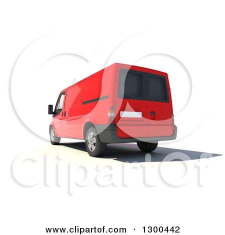 Clipart of a 3d Rear View of a Red Delivery Van, on White - Royalty Free Illustration by Frank Boston