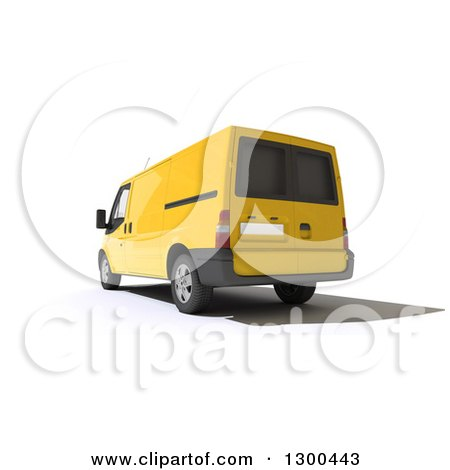 Clipart of a 3d Rear View of a Yellow Delivery Van, on White - Royalty Free Illustration by Frank Boston