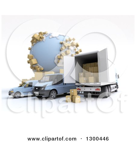 Clipart of a 3d Shipping and Delivery Fleet with Packages by a Globe on White - Royalty Free Illustration by Frank Boston