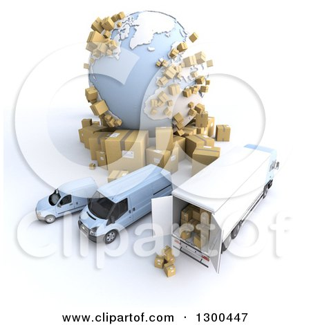 Clipart of a 3d Aerial View of a Shipping and Delivery Fleet with Packages by a Globe on White - Royalty Free Illustration by Frank Boston