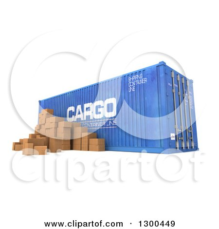 Clipart of a 3d Blue Cargo Container with Packages, on White - Royalty Free Illustration by Frank Boston