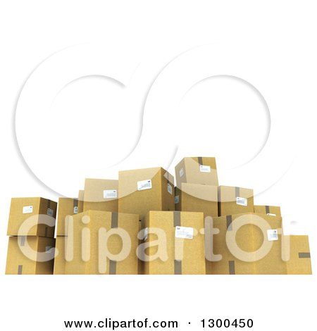 Clipart of a 3d Group of Cardboard Shipping Boxes Under Text Space on White - Royalty Free Illustration by Frank Boston