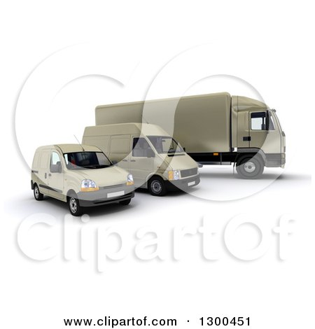 Clipart of a 3d Shipping and Delivery Fleet of a Beige Big Rig Truck and Vans - Royalty Free Illustration by Frank Boston