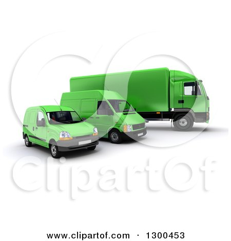 Clipart of a 3d Shipping and Delivery Fleet of a Green Big Rig Truck and Vans - Royalty Free Illustration by Frank Boston