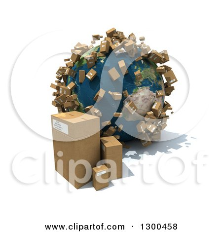 Clipart of a 3d Earth Globe with Shipping Packages All over the World and on the Floor, over White - Royalty Free Illustration by Frank Boston