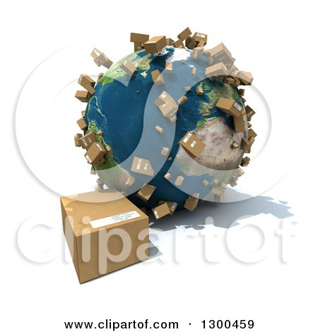 Clipart of a 3d Earth Globe with Shipping Packages All over the World and One on the Floor, over White - Royalty Free Illustration by Frank Boston