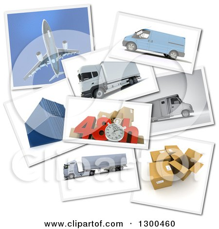 Clipart of a 3d Stopwatch and 48 Hour Speed Notice with Pictures of Transport and Logistics Items on White - Royalty Free Illustration by Frank Boston