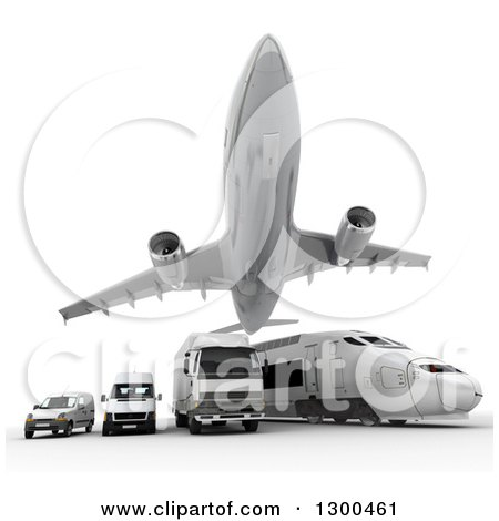 Clipart of a 3d Commercial Airliner Plane Flying over a Big Rig, Train and Delivery Vans on White - Royalty Free Illustration by Frank Boston