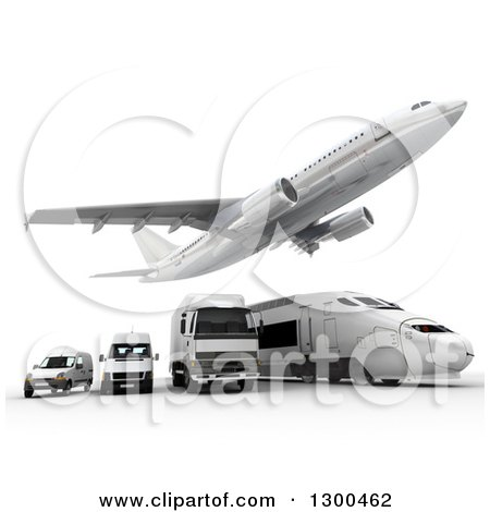 Clipart of a 3d Commercial Airliner Plane Flying over a Big Rig, Train and Delivery Vans on White 2 - Royalty Free Illustration by Frank Boston